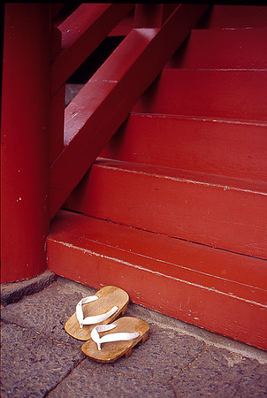 Monk's Shoes outside a temple in Kyoto, Japan