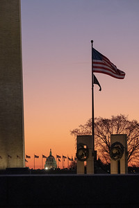 From the WWII Memorial, the Washington Monument and the Dome of the Capitol