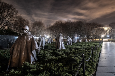The Korean War Memorial with the Lincoln Memorial in the background
