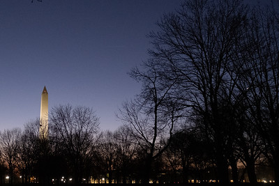 The Washington Monument just before sunrise.
