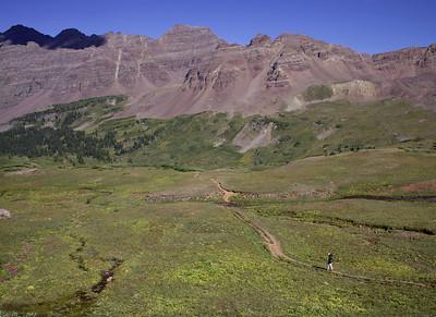 Peter descending West Maroon Creek Basin