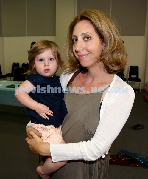 Pre Chanukah party at Maroubra Synagogue. Maya Segre with her daughter Noa. Pic Noel Kessel.