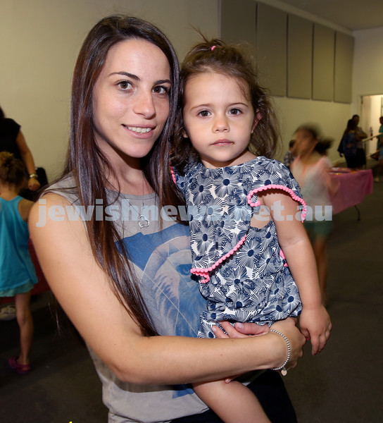 Pre Chanukah party at Maroubra Synagogue. Suzy and Sofia Reale. Pic Noel Kessel.