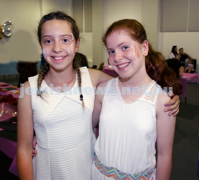 Pre Chanukah party at Maroubra Synagogue. Maya Segre (left), Hannah Shmuely. Pic Noel Kessel.