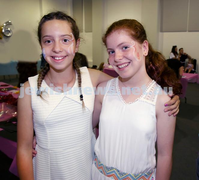 Pre Chanukah party at Maroubra Synagogue. Maya Segre (left), Hannah Shmuely. Pic Noel Kessel.