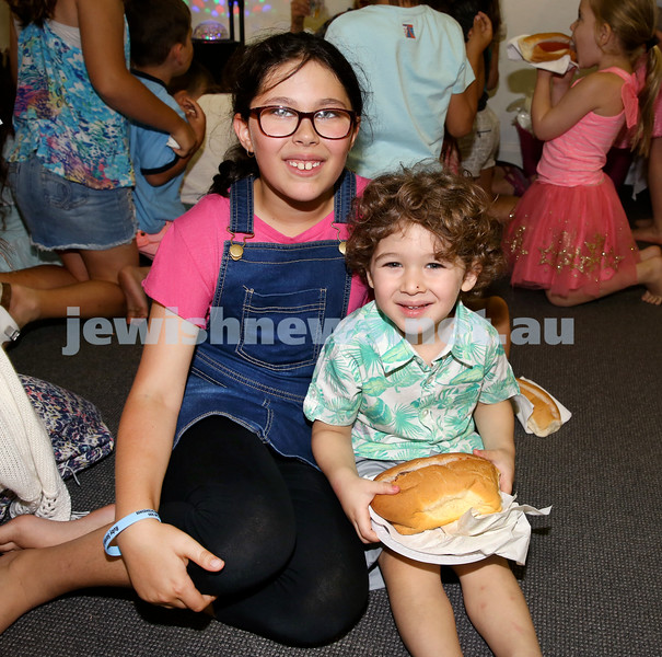 Pre Chanukah party at Maroubra Synagogue. From left: Ruby and Cooper Sarak. Pic Noel Kessel