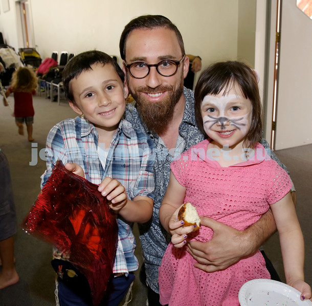 Pre Chanukah party at Maroubra Synagogue. From left: Mem, Yosef, Aliya Eichenblatt. Pic Noel Kessel.