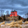 Marquette Lighthouse in the winter.