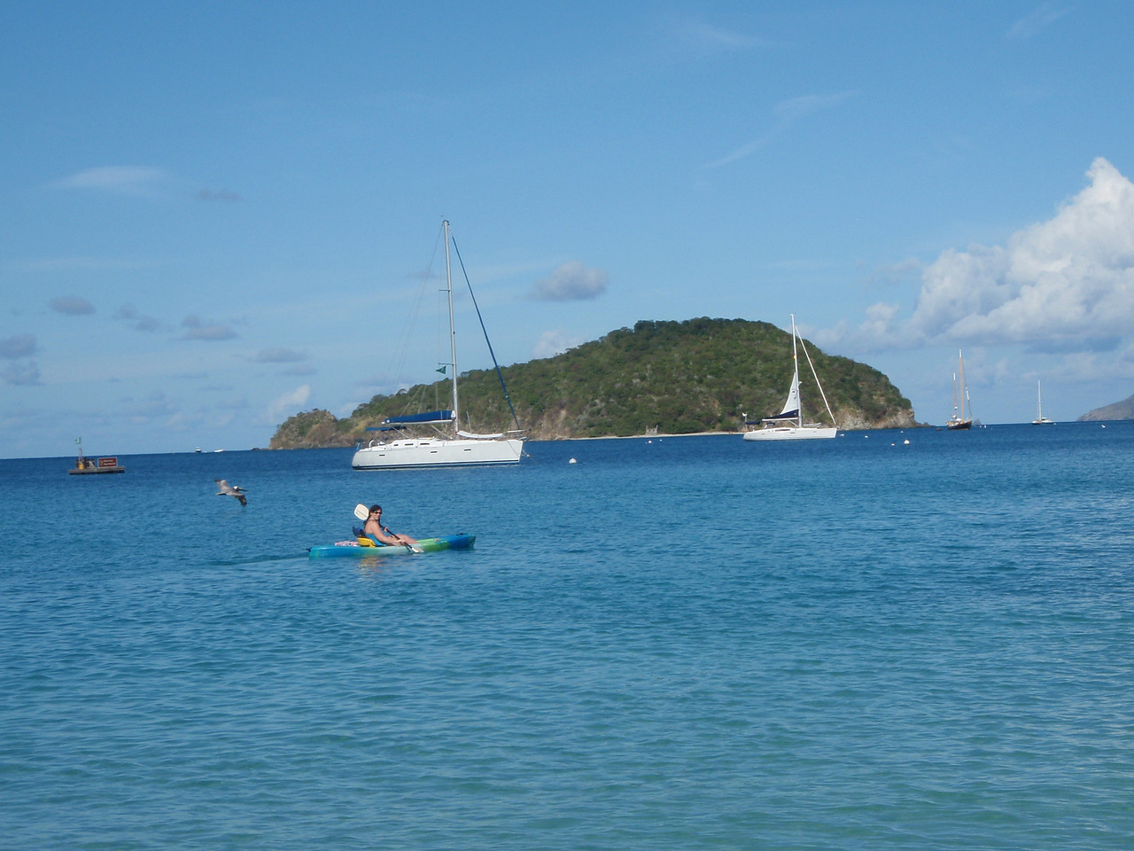 We rented kayaks at Maho Bay Campground and then paddled out to Whistling Cay (pronounced key).