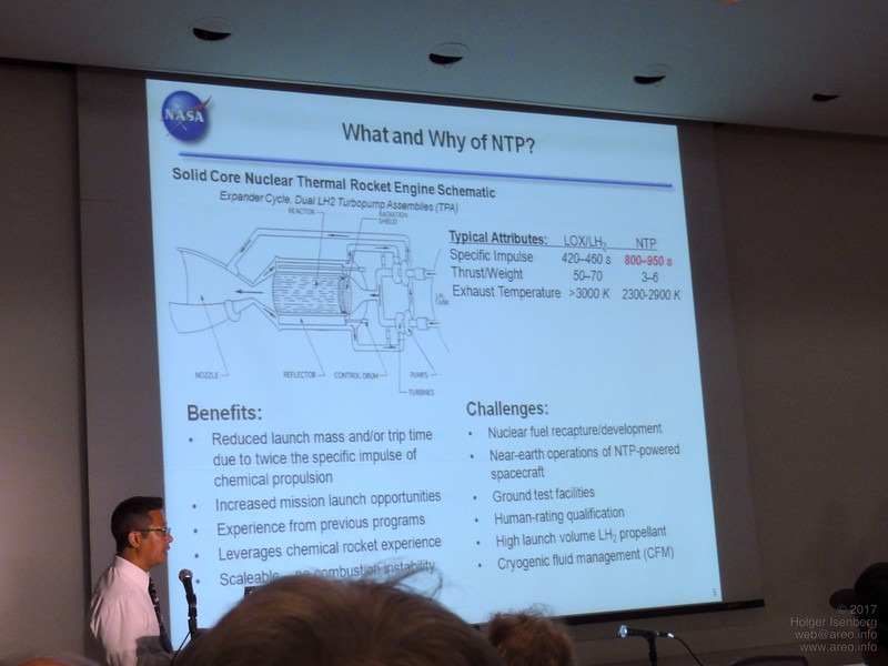 Tony Kim, NASA Marshall Space Flight Center, shows reasons to revive the Nuclear Thermal Propulsion Systems, a program which has been canceled in 1973. Most important advantage: specific impulse of the experimental engines is already twice of the limit of the best chemical engines.
