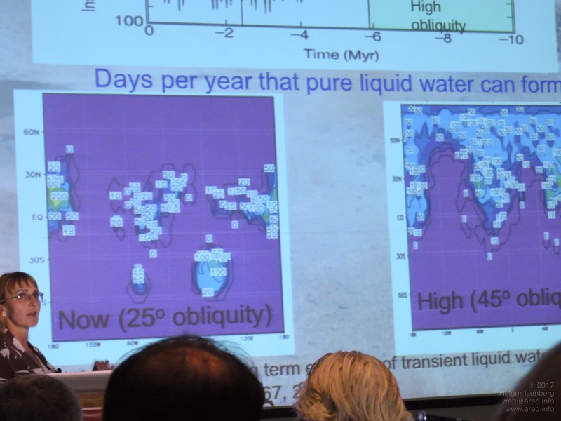 Pure liquid water can exists on 15% of sols per year in some regions on Mars.