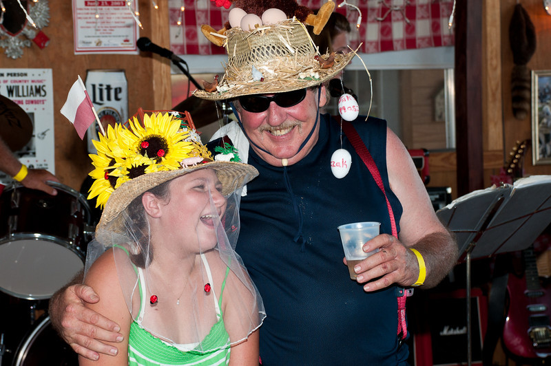 The winner and runner-up in the Creative Farm Hat contest