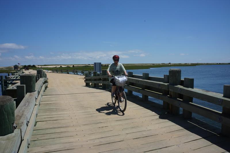 Pat safely negotiating the daylight bridge crossing