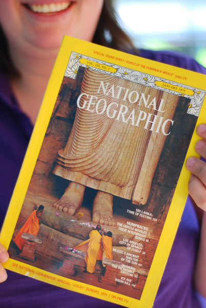 Rebecca holds up a National Geographic from January 1979, her birth month.
