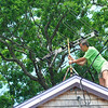 Kevin (neighbor of the Lowes) adjusting his TV antenna to attempt to get digital reception.