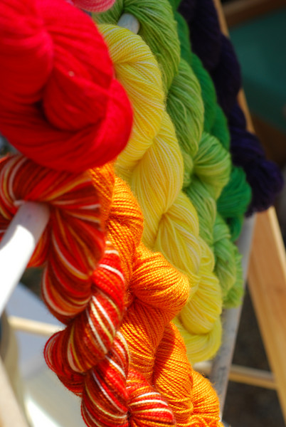 Colorful skeins of yarn at the farmers' market.