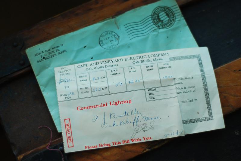 Vineyard electric bill from 1929.