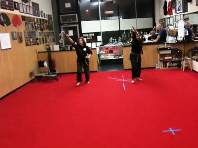 Gina and I doing the Noarashi Gaeshi form. (recorded by MP on his iPhone)