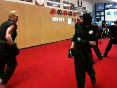 Iphone clip of me sparring w/ MP on 4/1/2011, not sure which student took this.