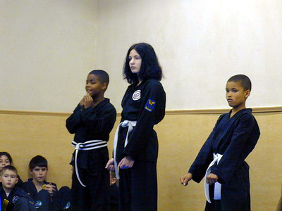 Testing for my yellow belt, June 2001.