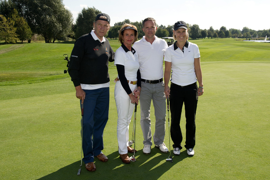 Anke Huber, Johnny Logan, Mark Lins, Jimmy Schmied, beim EAGLES Charity Golf am 16.09.12 St Leon Rot zu Gunsten der Aktion Kinderträume