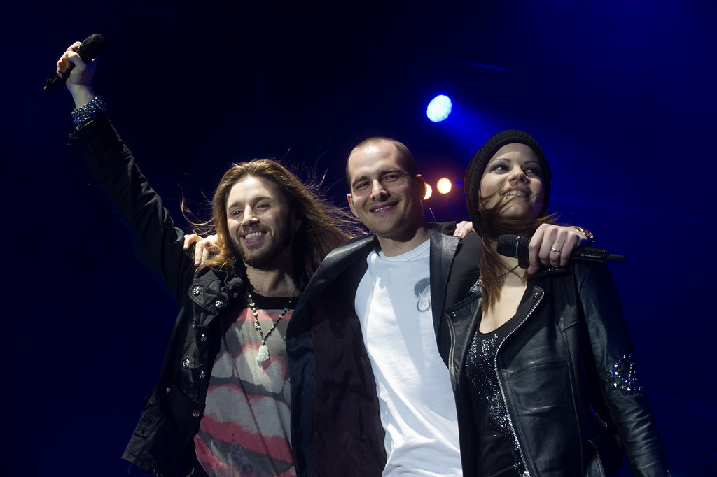 Gil Ofarim, Michael Lane, Isabell Schmidt, bei Voice of Germany am 07.01.13 in Mannheim in der SAP Arena
