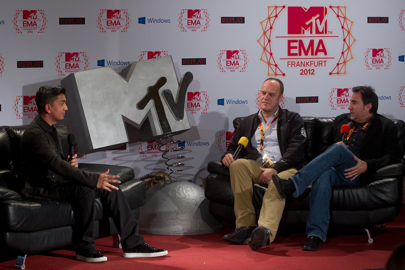 Tim Kash, Richard Godfrey, Bruce Gillmer, beim MTV EMA Press Briefing am 10.11.12 in Frankfurt im Römer