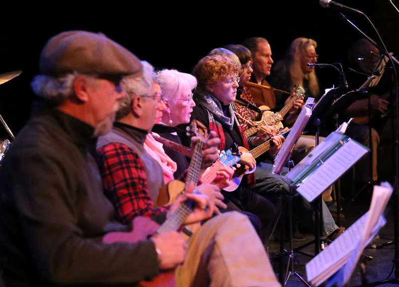 HOLLY PELCZYNSKI - BENNINGTON BANNER Members of the Strumming Ukes of Bennington perform for community members during a celebration of the  birthday of Dr. Martin Luther King, Jr. on Monday evening at Old Castle Theater.