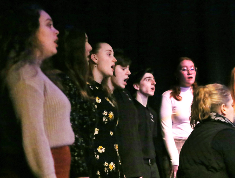 HOLLY PELCZYNSKI - BENNINGTON BANNER Students with the Mount Anthony Union Chamber Singers perform for community members as they gather at Oldcastle Theatre on Monday evening during a celebration of Martin Luther King Jr. Day.