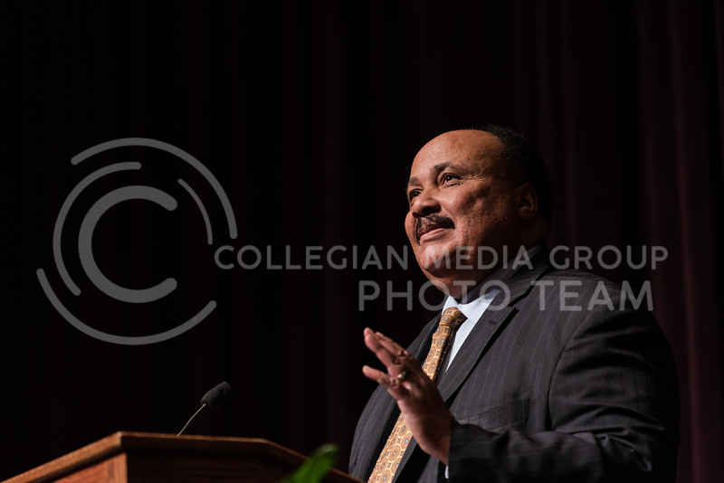 This week at Kansas State University, Wildcat students and faculty celebrated the Dr. Martin Luther King Jr. Observance Week by inviting Martin Luther King III to speak in Forum Hall at the K-State Student Union on Thursday. Martin Luther King III spoke about empowering subjects such as acceptance, freedom of voting and the betterence of humans as a whole in honor of the 50th aniv. of his father's visit to campus. (Olivia Bergmeier | Collegian Media Group)