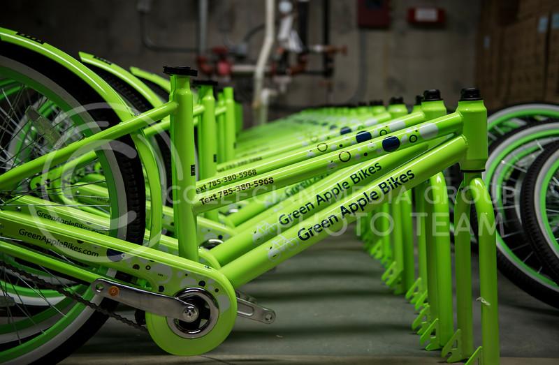 The new Green Apple Bikes unboxed at the Green Apple Bike Warehouse in Manhattan, Kan., on Jan. 15, 2018. (Olivia bergmeier | Collegian Media Group)