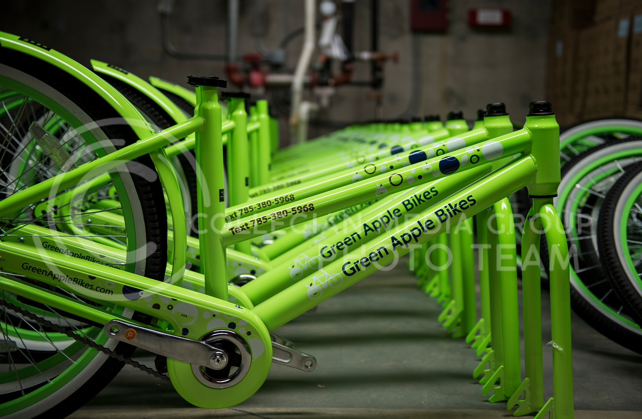 The new Green Apple Bikes unboxed at the Green Apple Bike Warehouse in Manhattan, Kan., on Jan. 15, 2018. (Olivia bergmeier | Collegian Media Group)