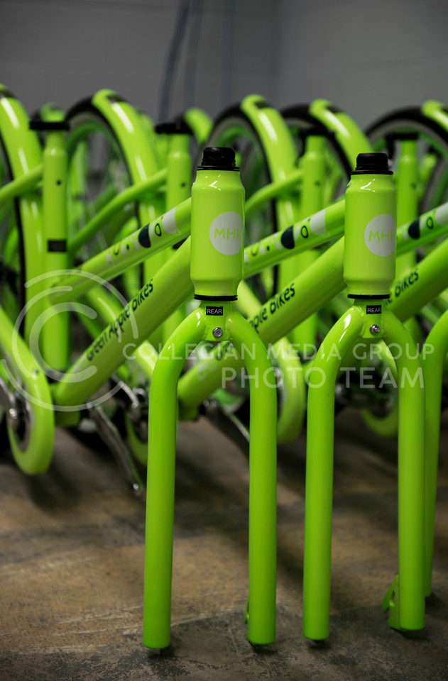 The new Green Apple Bikes unboxed in the Green Apple Bikes Warehouse in Manhattan, Kan.. on Jan. 15, 2018. (Olivia Bergmeier | Collegian Media Group)