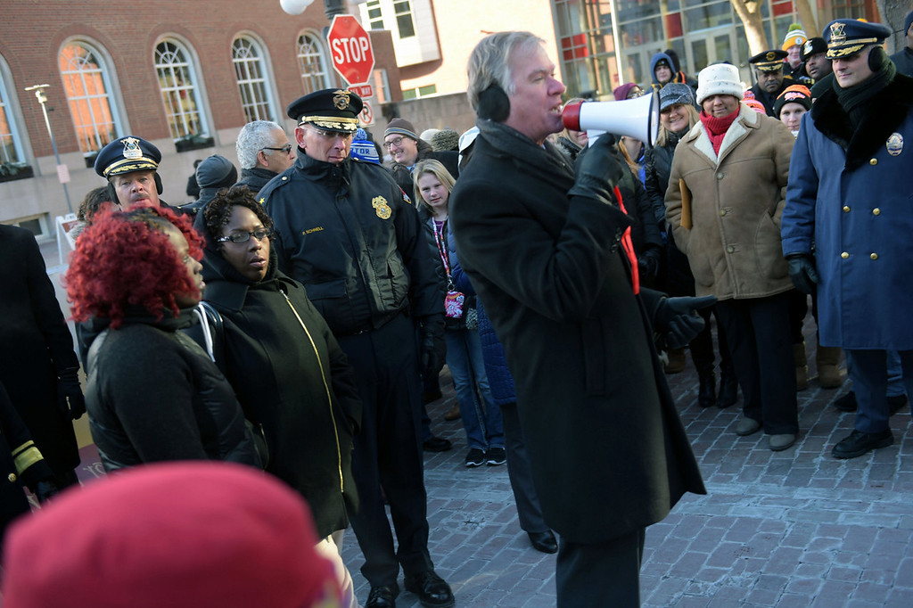 . A bundled-up crowd listens as St. Paul mayor Chris Coleman makes a few remarks before helping lead several hundred people on a short march. Temperatures were in the single digits below zero, with windchills of minus 20 degrees. (Pioneer Press: Scott Takushi)
