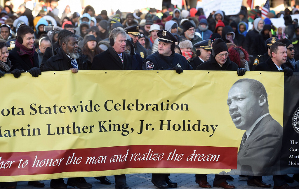 . Events on both sides of the Mississippi River marked the birthday of the slain civil rights leader. (Pioneer Press: Scott Takushi)