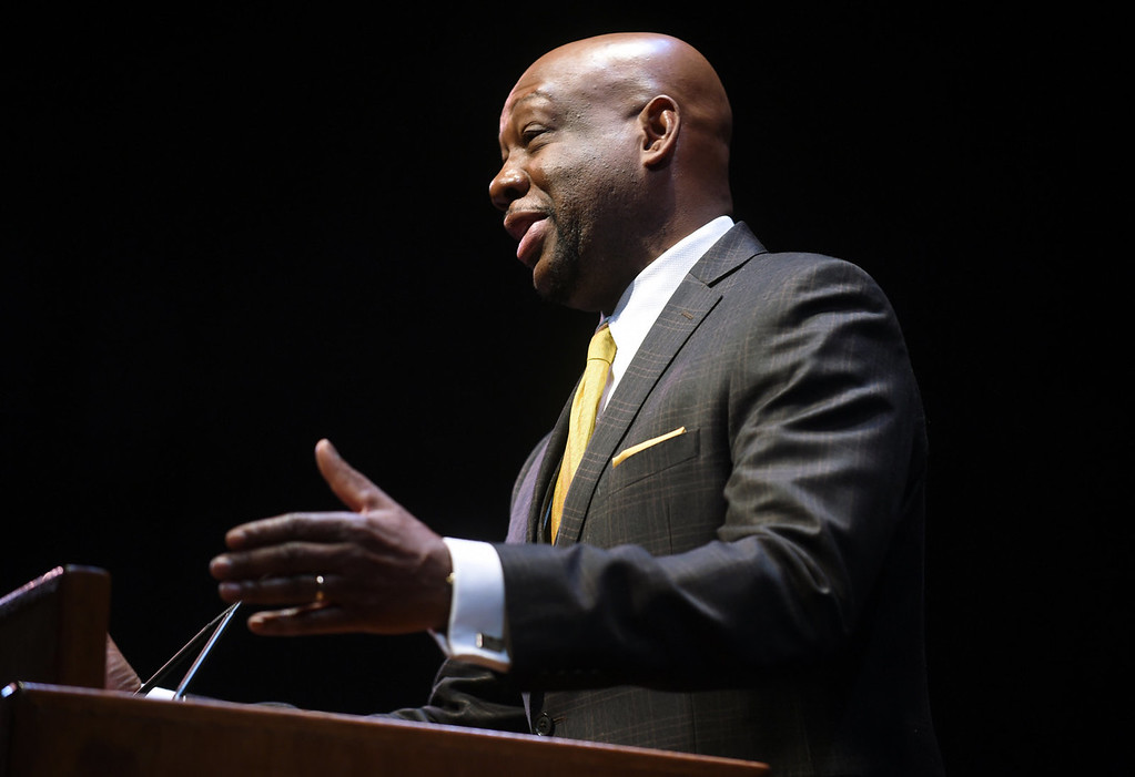 . Peter Rhodes, President and CEO of the Urban Mass Media Group, was the master of ceremonies of the Martin Luther King, Jr. Statewide Holiday Celebration program at the Ordway. (Pioneer Press: Scott Takushi)