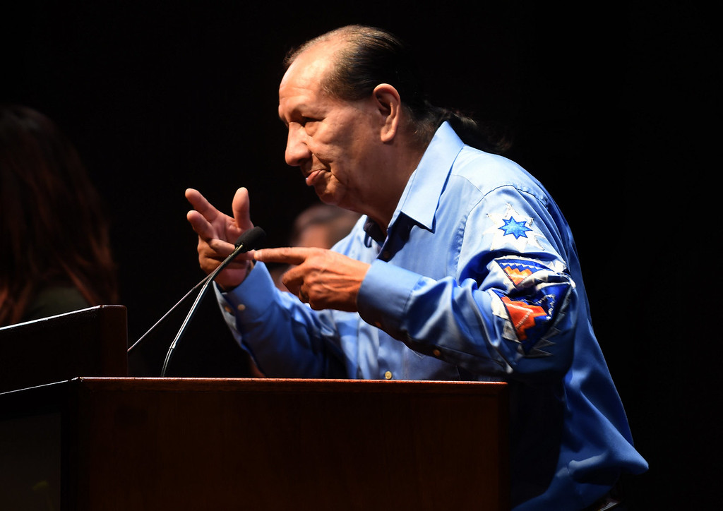 . Jim Thunderhawk, of the Greater Minneapolis Council of Churches, Division of Indian Work gave one of three opening prayers. (Pioneer Press: Scott Takushi)