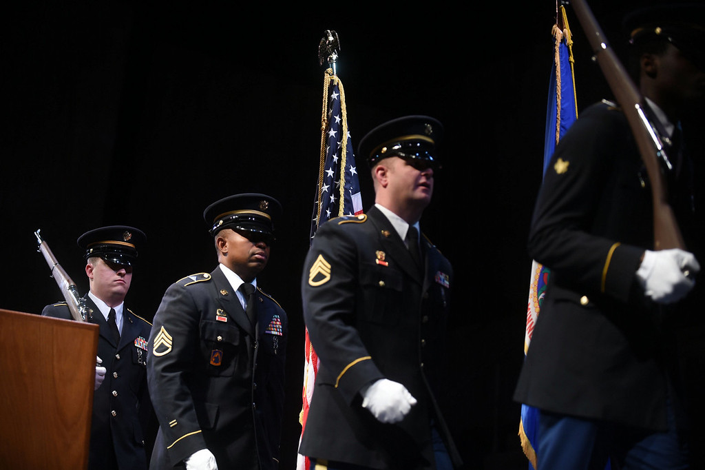 . Minnesota National Guard members perform a Presentation of the Colors at the start of the Martin Luther King, Jr. Statewide Holiday Celebration program at the Ordway. (Pioneer Press: Scott Takushi)