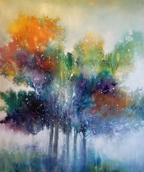 "Tree of Sunset by Nari, 50""x42"" painting on canvas"