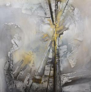 "Turbine-Hawks, 46.5""x46.5"" acrylic painting on canvas"