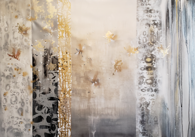 "Farfalla Luster - Nari, 42""x60"" mixed media on canvas"