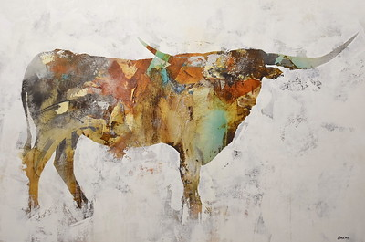 """Longhorn - Brems, 34.5""""x51.5"""" painting on canvas"""