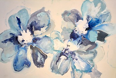 40x60 Blu Flowers-Hibberd