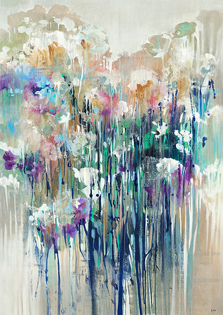 """Glitter Field by Nari, 46""""x32"""" acrylic painting on loose canvas"""