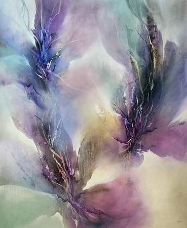 "Amethyst Flicker-Nari, 46""x38"" painting on canvas"