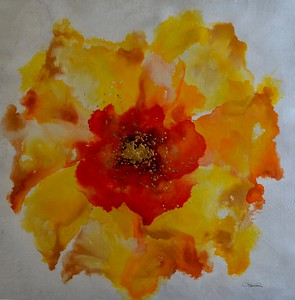 """Summer Blooms IX by Rei, 28""""x28"""" painting on canvas"""