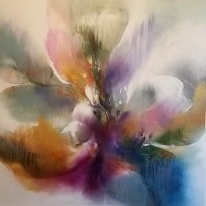 "Fuchsia Bloom-Nari, 50""x50"" on canvas"