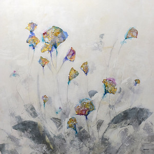 """Floral I-Brems, 45""""X45"""" painting on canvas"""