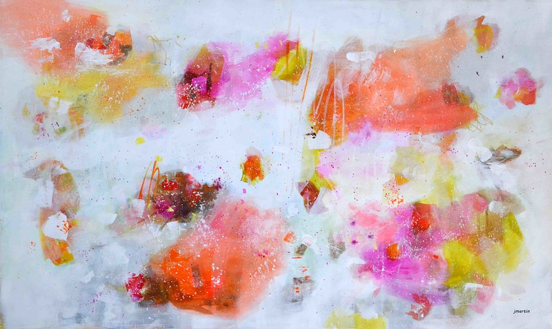 "38""x50"", splatters orange yellow jillalmartin"
