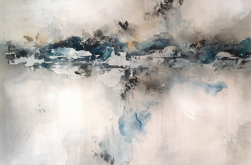 "Sterling Horizon-Rei, 40""x50"" mixed media painting on canvas"
